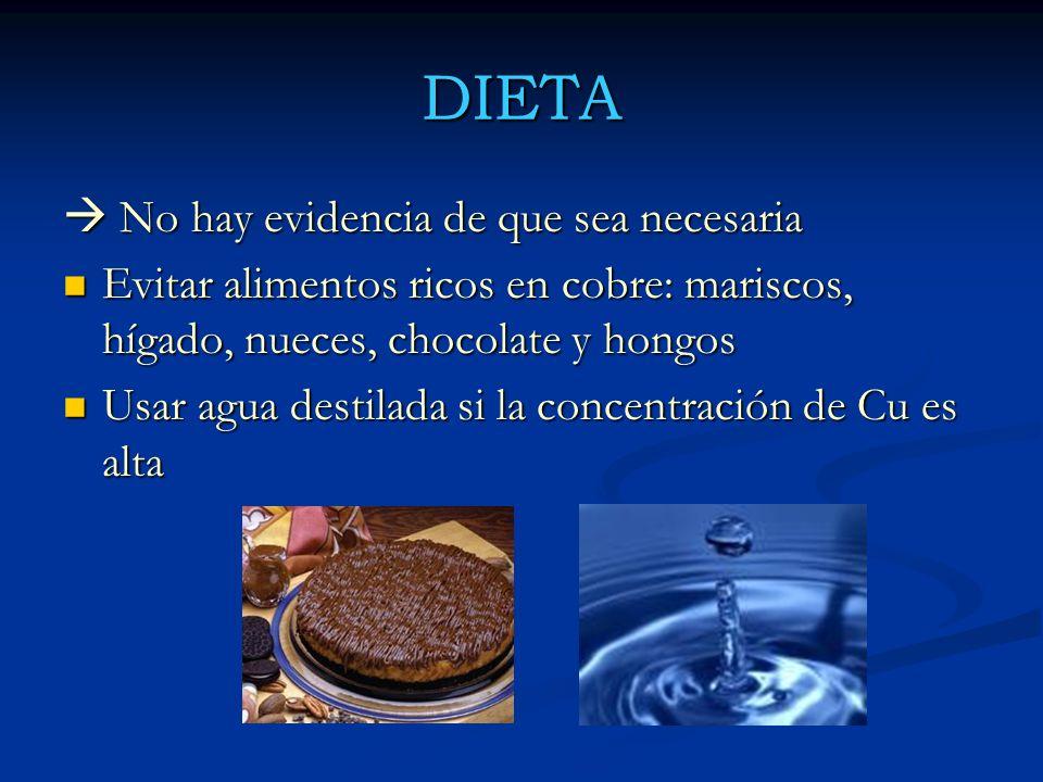 DIETA No hay evidencia de que sea necesaria No hay evidencia de que sea necesaria Evitar alimentos ricos en cobre: mariscos, hígado, nueces, chocolate