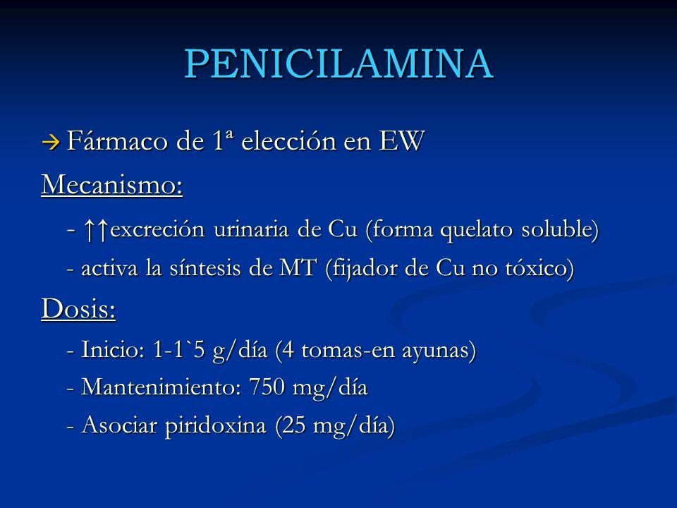 PENICILAMINA Fármaco de 1ª elección en EW Fármaco de 1ª elección en EWMecanismo: - excreción urinaria de Cu (forma quelato soluble) - activa la síntes