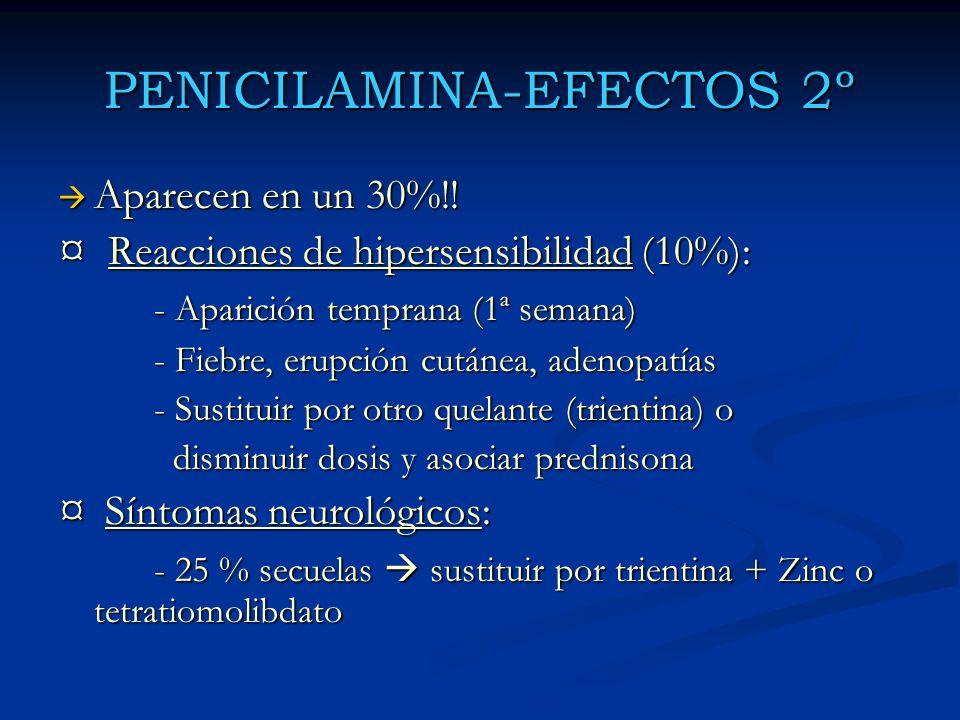PENICILAMINA-EFECTOS 2º Aparecen en un 30%!! Aparecen en un 30%!! ¤ Reacciones de hipersensibilidad (10%): - Aparición temprana (1ª semana) - Fiebre,