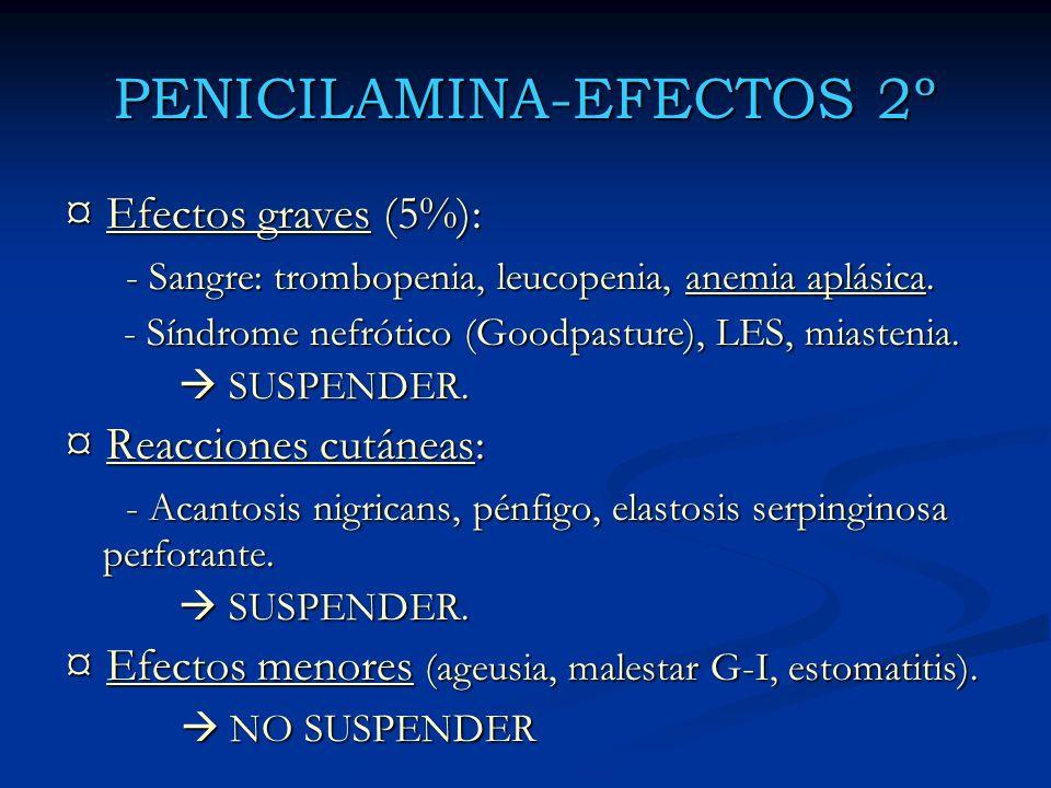 PENICILAMINA-EFECTOS 2º ¤ Efectos graves (5%): - Sangre: trombopenia, leucopenia, anemia aplásica. - Sangre: trombopenia, leucopenia, anemia aplásica.