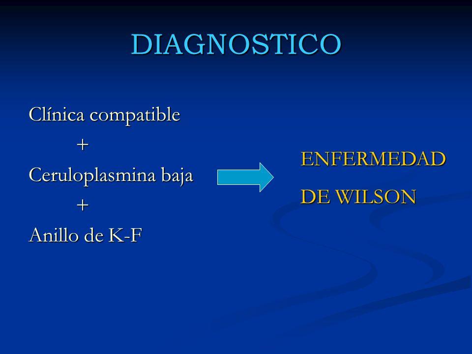 DIAGNOSTICO Clínica compatible + Ceruloplasmina baja + Anillo de K-F ENFERMEDAD DE WILSON