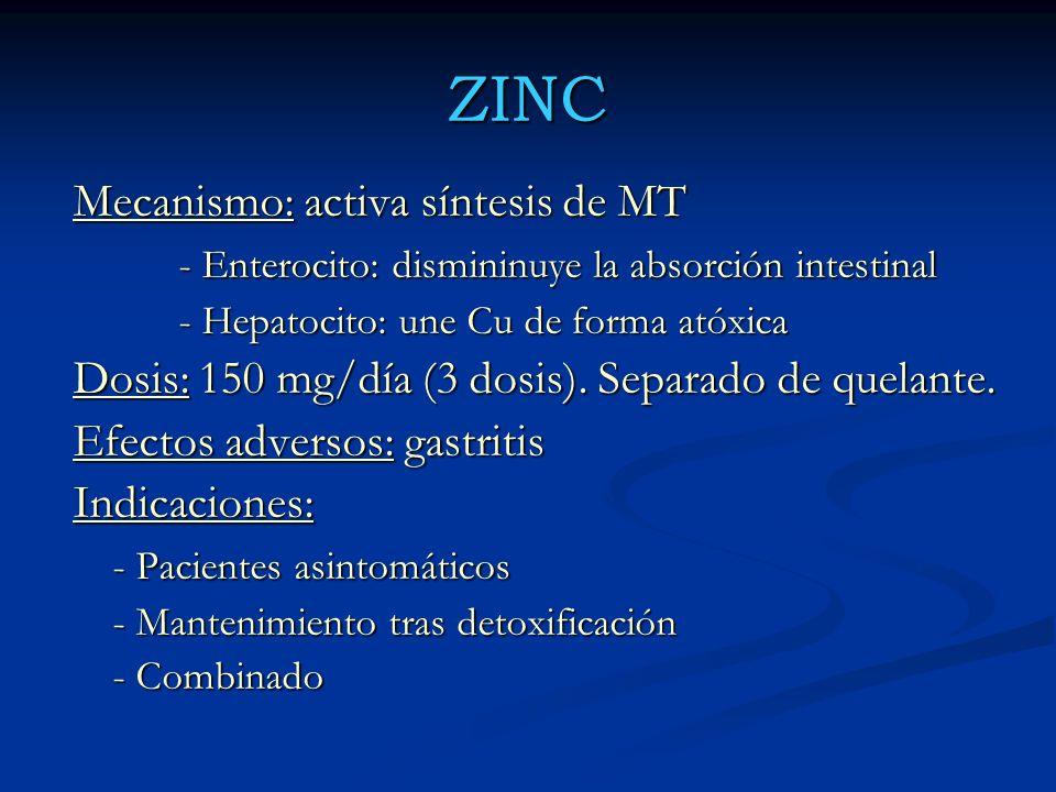 ZINC Mecanismo: activa síntesis de MT - Enterocito: dismininuye la absorción intestinal - Hepatocito: une Cu de forma atóxica Dosis: 150 mg/día (3 dos