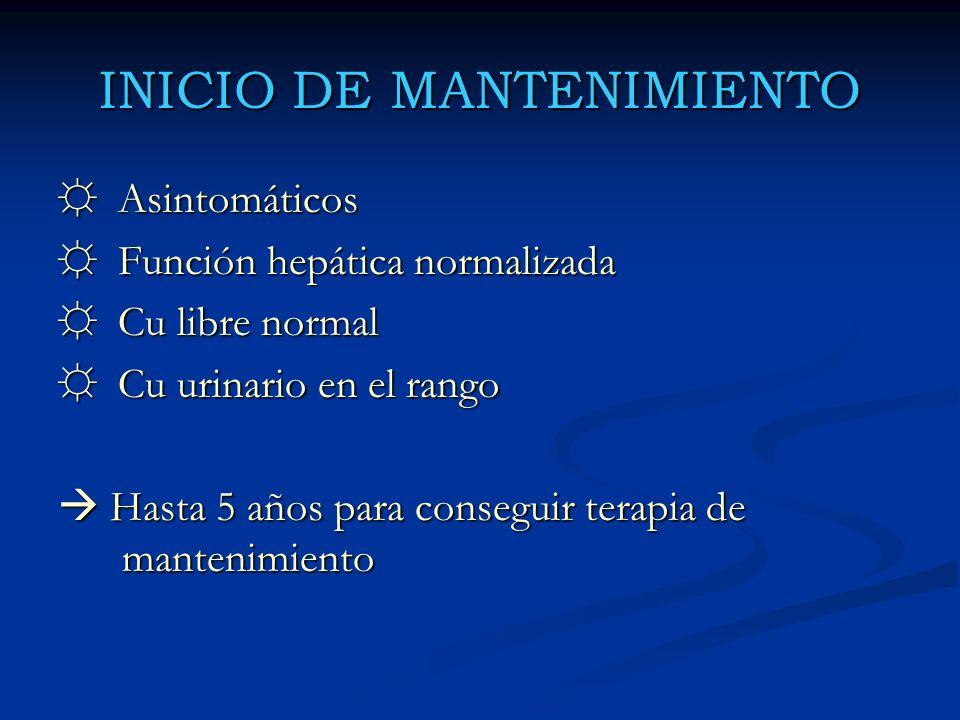 INICIO DE MANTENIMIENTO Asintomáticos Asintomáticos Función hepática normalizada Función hepática normalizada Cu libre normal Cu libre normal Cu urina