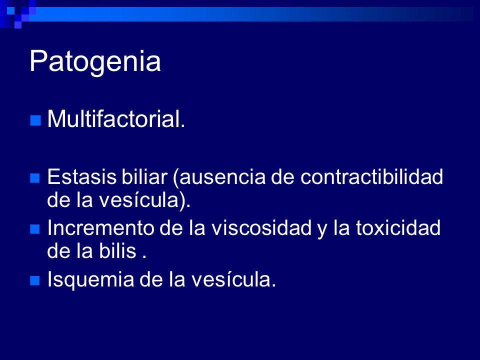 Patogenia Multifactorial. Estasis biliar (ausencia de contractibilidad de la vesícula). Incremento de la viscosidad y la toxicidad de la bilis. Isquem