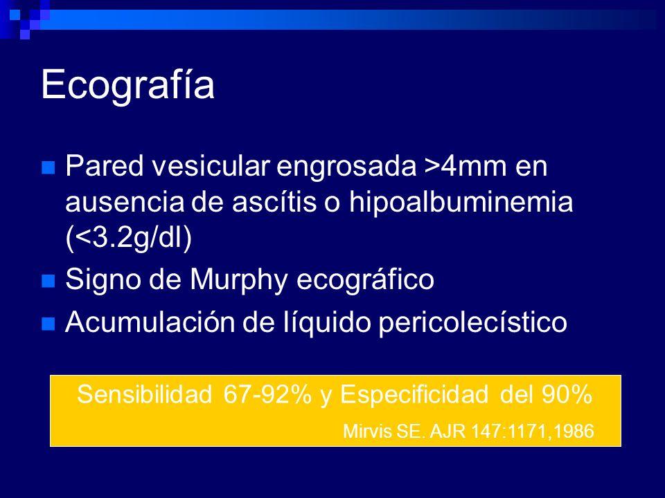 Ecografía Pared vesicular engrosada >4mm en ausencia de ascítis o hipoalbuminemia (<3.2g/dl) Signo de Murphy ecográfico Acumulación de líquido pericol