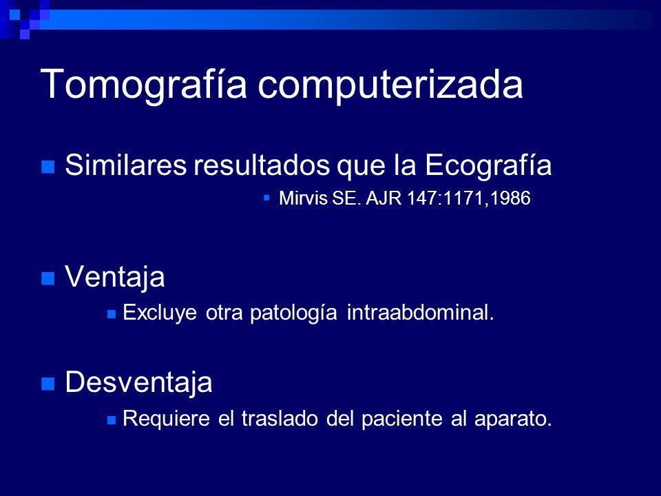 Tomografía computerizada Similares resultados que la Ecografía Mirvis SE. AJR 147:1171,1986 Ventaja Excluye otra patología intraabdominal. Desventaja