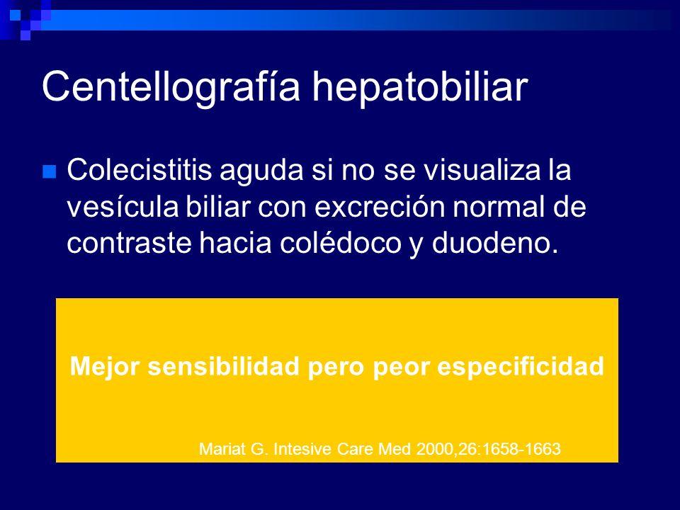 Centellografía hepatobiliar Colecistitis aguda si no se visualiza la vesícula biliar con excreción normal de contraste hacia colédoco y duodeno. Mejor