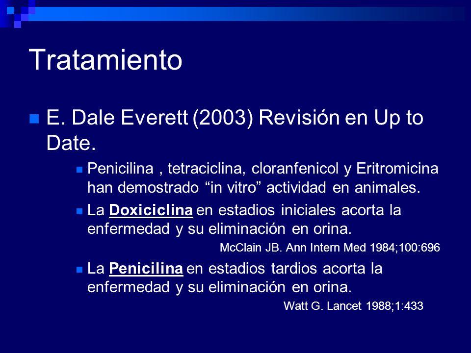 Tratamiento E. Dale Everett (2003) Revisión en Up to Date. Penicilina, tetraciclina, cloranfenicol y Eritromicina han demostrado in vitro actividad en