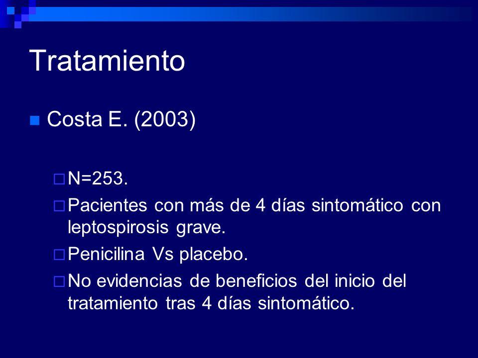 Tratamiento Costa E. (2003) N=253. Pacientes con más de 4 días sintomático con leptospirosis grave. Penicilina Vs placebo. No evidencias de beneficios
