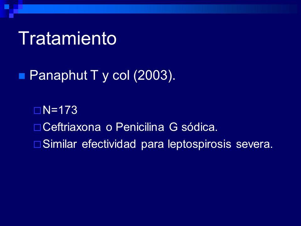 Tratamiento Panaphut T y col (2003). N=173 Ceftriaxona o Penicilina G sódica. Similar efectividad para leptospirosis severa.