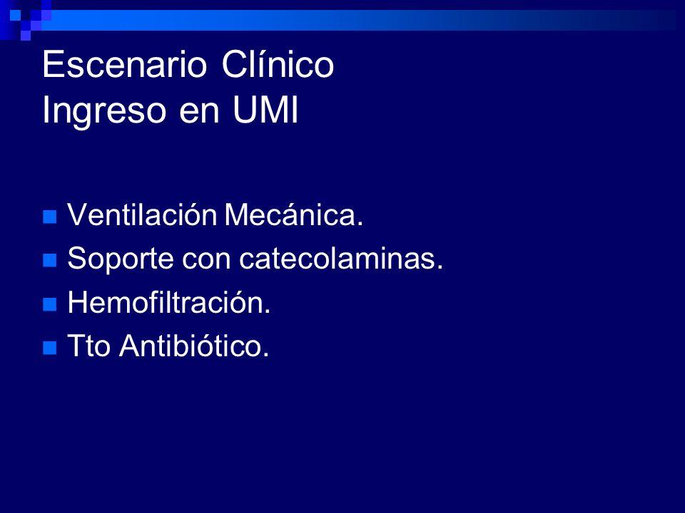 Escenario Clínico Ingreso en UMI Ventilación Mecánica. Soporte con catecolaminas. Hemofiltración. Tto Antibiótico.