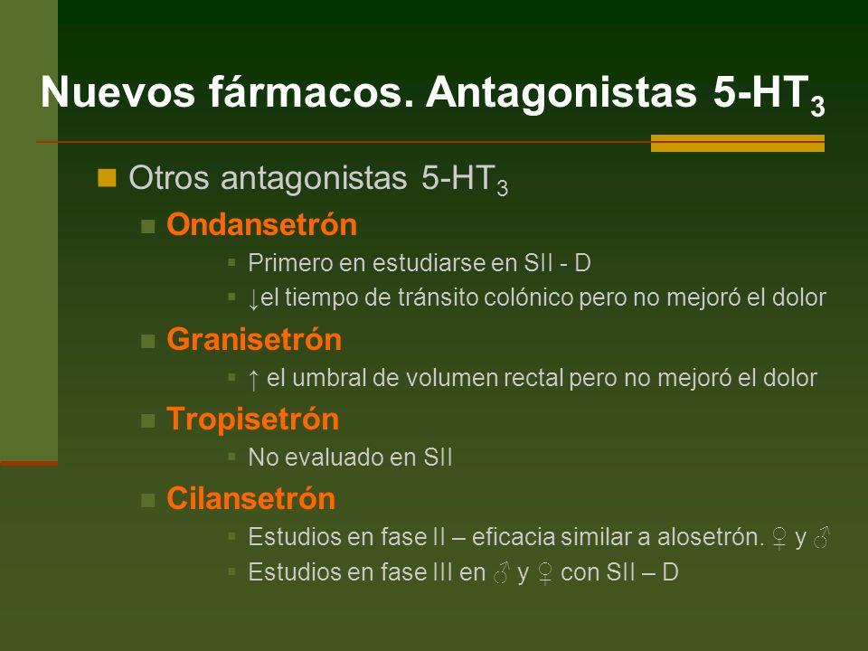Otros antagonistas 5-HT 3 Ondansetrón Primero en estudiarse en SII - D el tiempo de tránsito colónico pero no mejoró el dolor Granisetrón el umbral de volumen rectal pero no mejoró el dolor Tropisetrón No evaluado en SII Cilansetrón Estudios en fase II – eficacia similar a alosetrón.