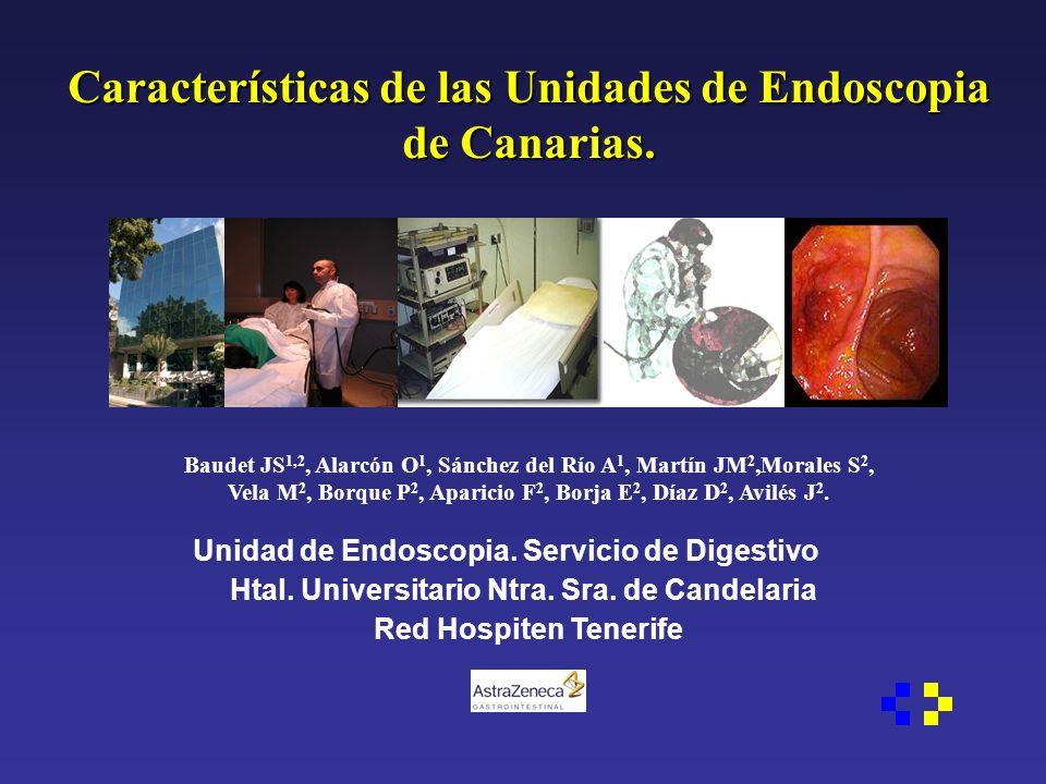 Características de las Unidades de Endoscopia de Canarias. Baudet JS 1,2, Alarcón O 1, Sánchez del Río A 1, Martín JM 2,Morales S 2, Vela M 2, Borque