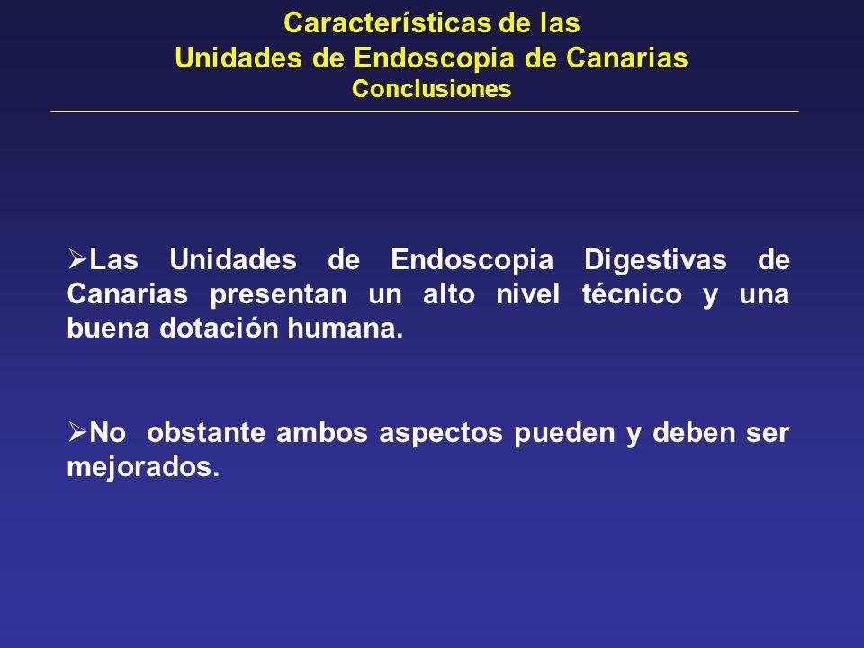 Las Unidades de Endoscopia Digestivas de Canarias presentan un alto nivel técnico y una buena dotación humana. No obstante ambos aspectos pueden y deb