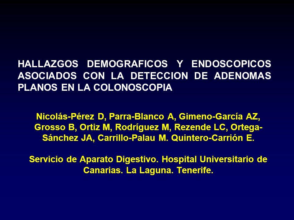 Nicolás-Pérez D, Parra-Blanco A, Gimeno-García AZ, Grosso B, Ortiz M, Rodríguez M, Rezende LC, Ortega- Sánchez JA, Carrillo-Palau M.