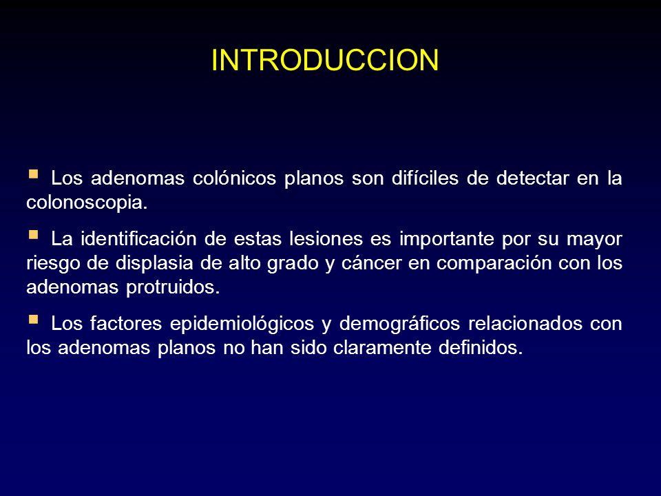 Colon derecho (%) Colon izquierdo (%) P Adenomas78.162.3< 0.001 Adenoma avanzados 12.320.2< 0.001 Displasia / cáncer 1.25.7< 0.001 Adenoma planos 26.310.7< 0.001 Tamaño (mm) (X ± DS) 6.5 ± 0.36.2 ± 0.2ns RESULTADOS