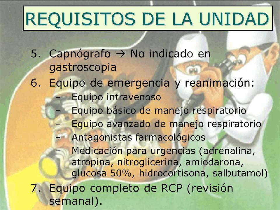 REQUISITOS DE LA UNIDAD 5.Capnógrafo No indicado en gastroscopia 6.Equipo de emergencia y reanimación: –Equipo intravenoso –Equipo básico de manejo re