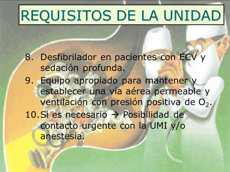 REQUISITOS DE LA UNIDAD 8.Desfibrilador en pacientes con ECV y sedación profunda. 9.Equipo apropiado para mantener y establecer una vía aérea permeabl
