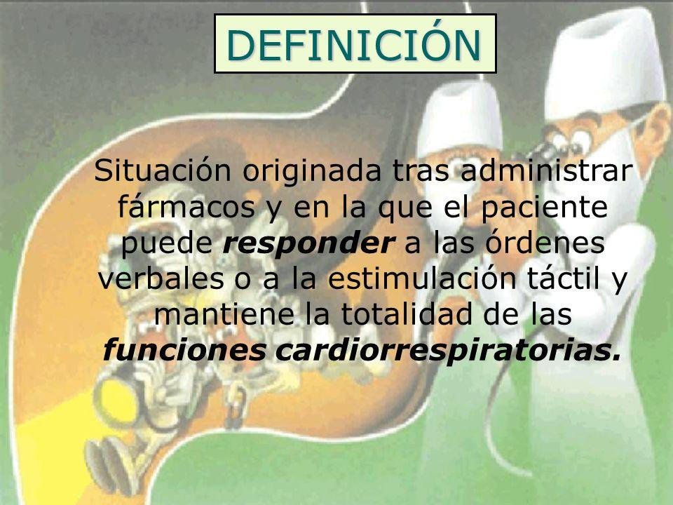 DEFINICIÓN Situación originada tras administrar fármacos y en la que el paciente puede responder a las órdenes verbales o a la estimulación táctil y m