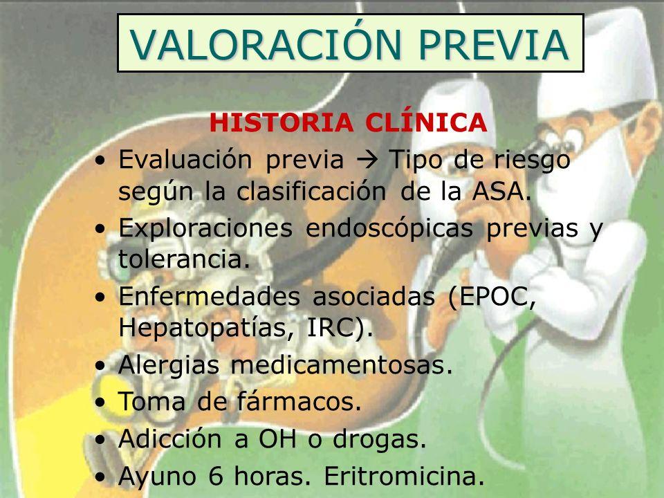 VALORACIÓN PREVIA HISTORIA CLÍNICA Evaluación previa Tipo de riesgo según la clasificación de la ASA. Exploraciones endoscópicas previas y tolerancia.