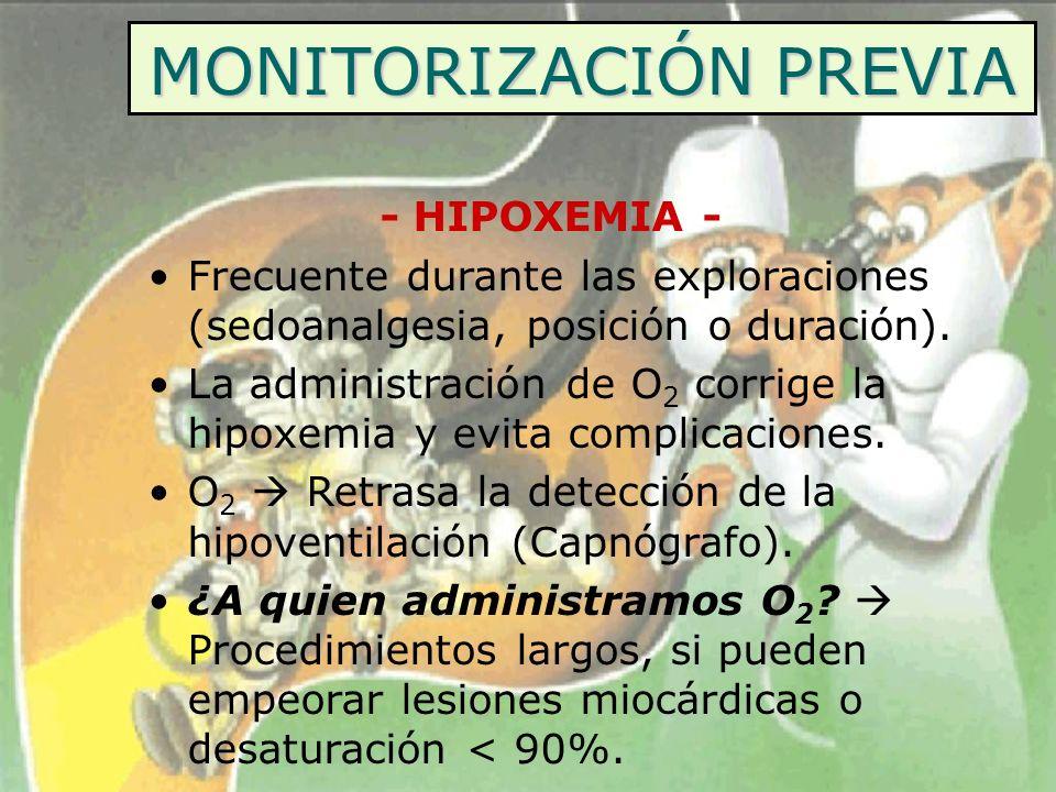 MONITORIZACIÓN PREVIA - HIPOXEMIA - Frecuente durante las exploraciones (sedoanalgesia, posición o duración). La administración de O 2 corrige la hipo