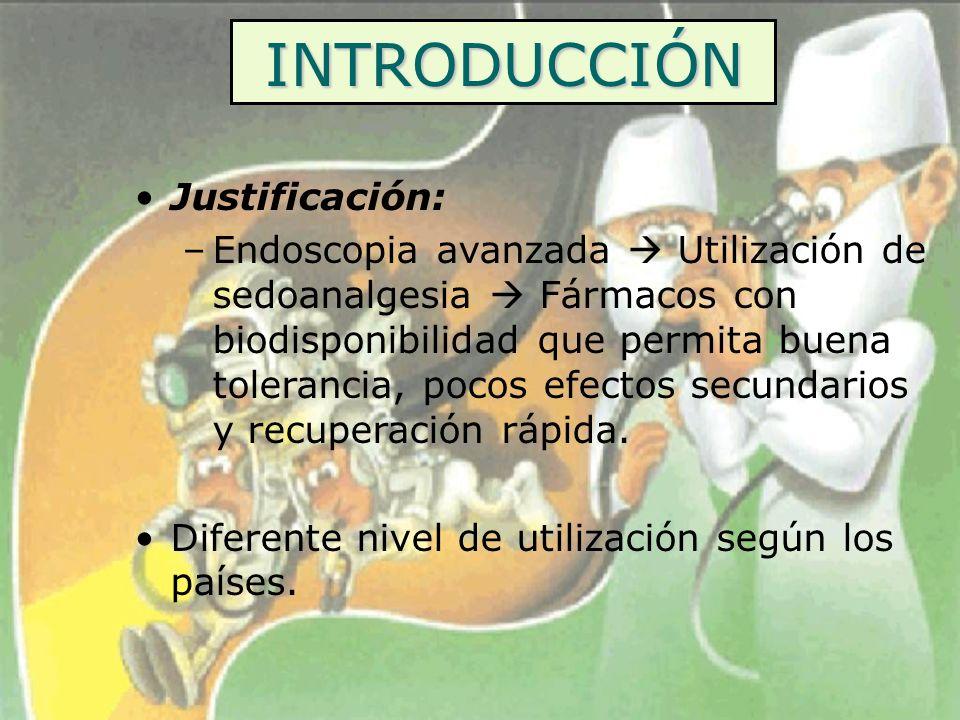 INTRODUCCIÓN Justificación: –Endoscopia avanzada Utilización de sedoanalgesia Fármacos con biodisponibilidad que permita buena tolerancia, pocos efect