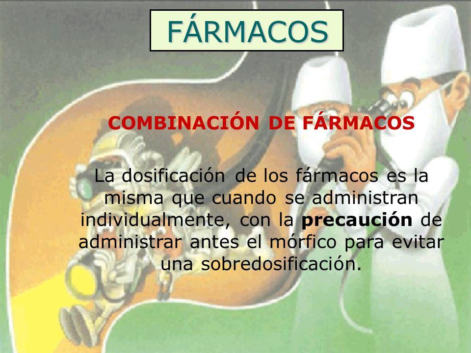 FÁRMACOS COMBINACIÓN DE FÁRMACOS La dosificación de los fármacos es la misma que cuando se administran individualmente, con la precaución de administr