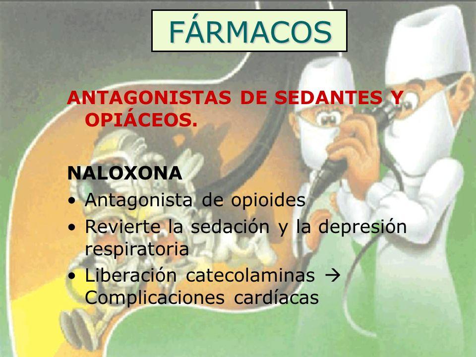 FÁRMACOS ANTAGONISTAS DE SEDANTES Y OPIÁCEOS. NALOXONA Antagonista de opioides Revierte la sedación y la depresión respiratoria Liberación catecolamin
