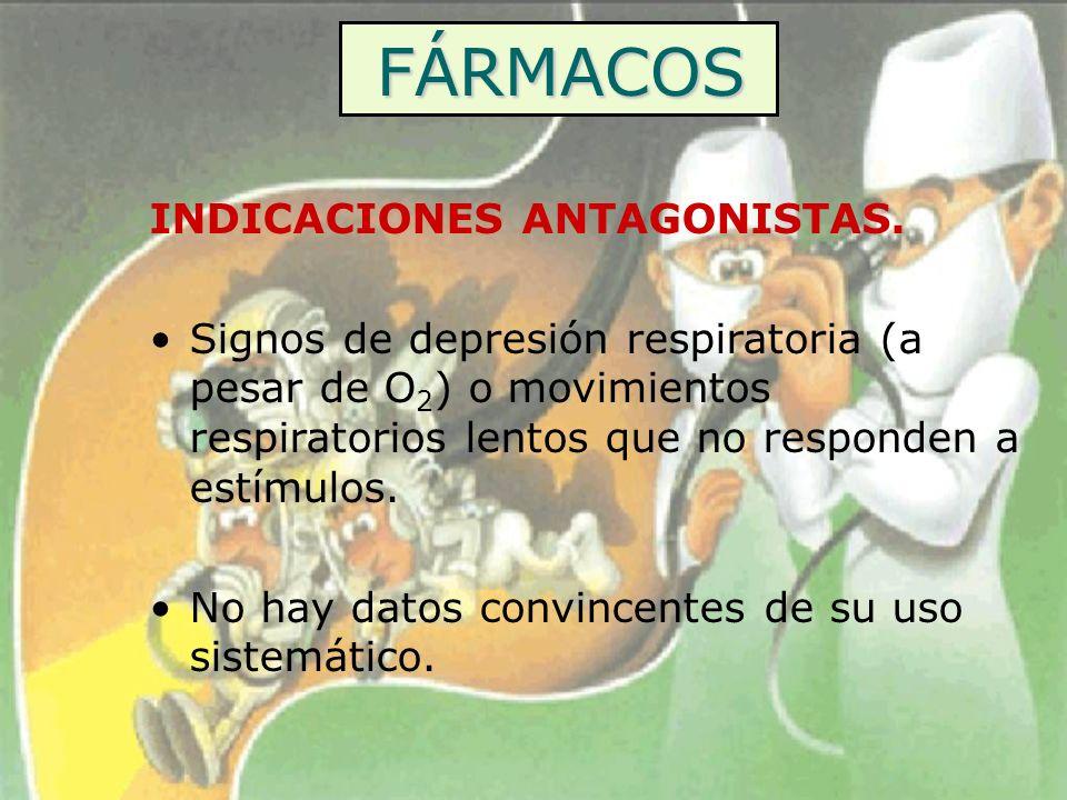 FÁRMACOS INDICACIONES ANTAGONISTAS. Signos de depresión respiratoria (a pesar de O 2 ) o movimientos respiratorios lentos que no responden a estímulos