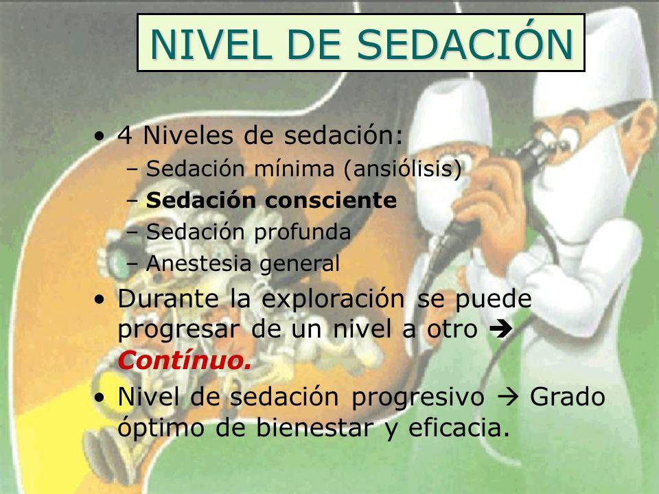 NIVEL DE SEDACIÓN 4 Niveles de sedación: –Sedación mínima (ansiólisis) –Sedación consciente –Sedación profunda –Anestesia general Durante la exploraci
