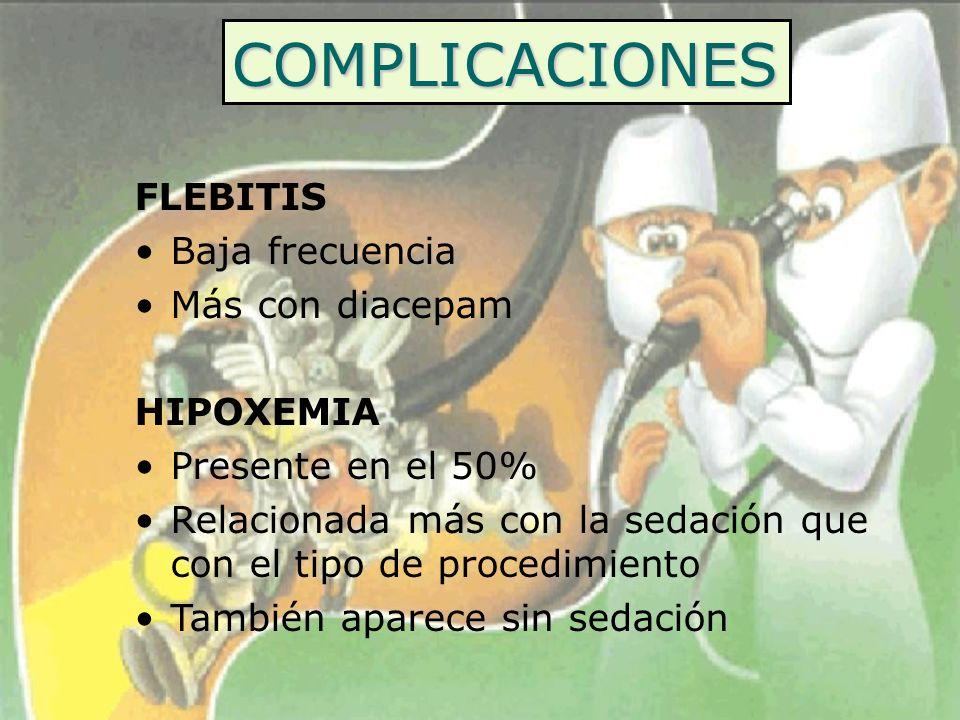 COMPLICACIONES FLEBITIS Baja frecuencia Más con diacepam HIPOXEMIA Presente en el 50% Relacionada más con la sedación que con el tipo de procedimiento