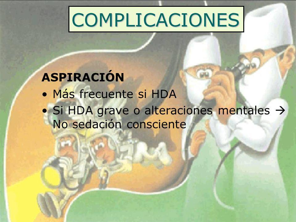COMPLICACIONES ASPIRACIÓN Más frecuente si HDA Si HDA grave o alteraciones mentales No sedación consciente