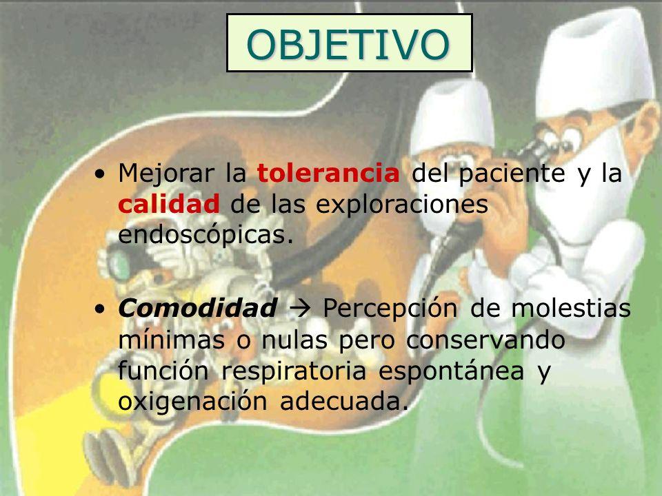 OBJETIVO Mejorar la tolerancia del paciente y la calidad de las exploraciones endoscópicas. Comodidad Percepción de molestias mínimas o nulas pero con