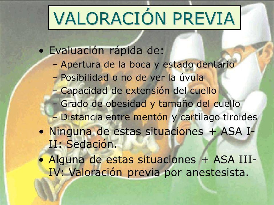 VALORACIÓN PREVIA Evaluación rápida de: –Apertura de la boca y estado dentario –Posibilidad o no de ver la úvula –Capacidad de extensión del cuello –G
