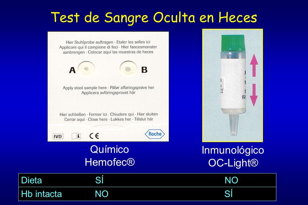 Test de Sangre Oculta en Heces Inmunológico OC-Light® Químico Hemofec® Dieta SÍ NO Hb intacta NO SÍ
