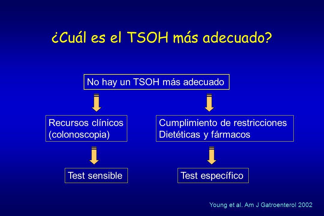 ¿Cuál es el TSOH más adecuado? No hay un TSOH más adecuado Recursos clínicos (colonoscopia) Cumplimiento de restricciones Dietéticas y fármacos Test s