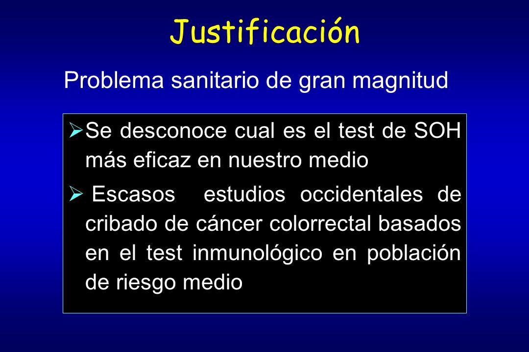 Justificación Se desconoce cual es el test de SOH más eficaz en nuestro medio Escasos estudios occidentales de cribado de cáncer colorrectal basados e