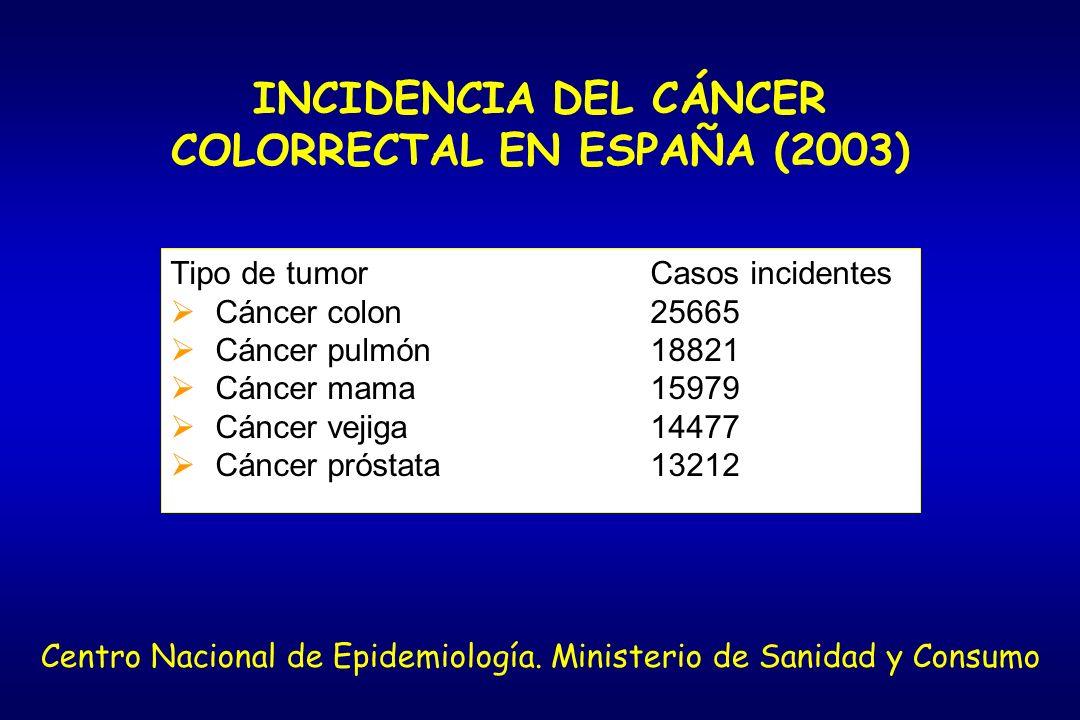 INCIDENCIA DEL CÁNCER COLORRECTAL EN ESPAÑA (2003) Tipo de tumorCasos incidentes Cáncer colon25665 Cáncer pulmón18821 Cáncer mama15979 Cáncer vejiga14