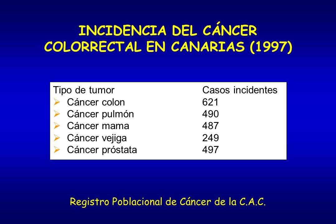 INCIDENCIA DEL CÁNCER COLORRECTAL EN CANARIAS (1997) Tipo de tumorCasos incidentes Cáncer colon621 Cáncer pulmón490 Cáncer mama487 Cáncer vejiga249 Cá