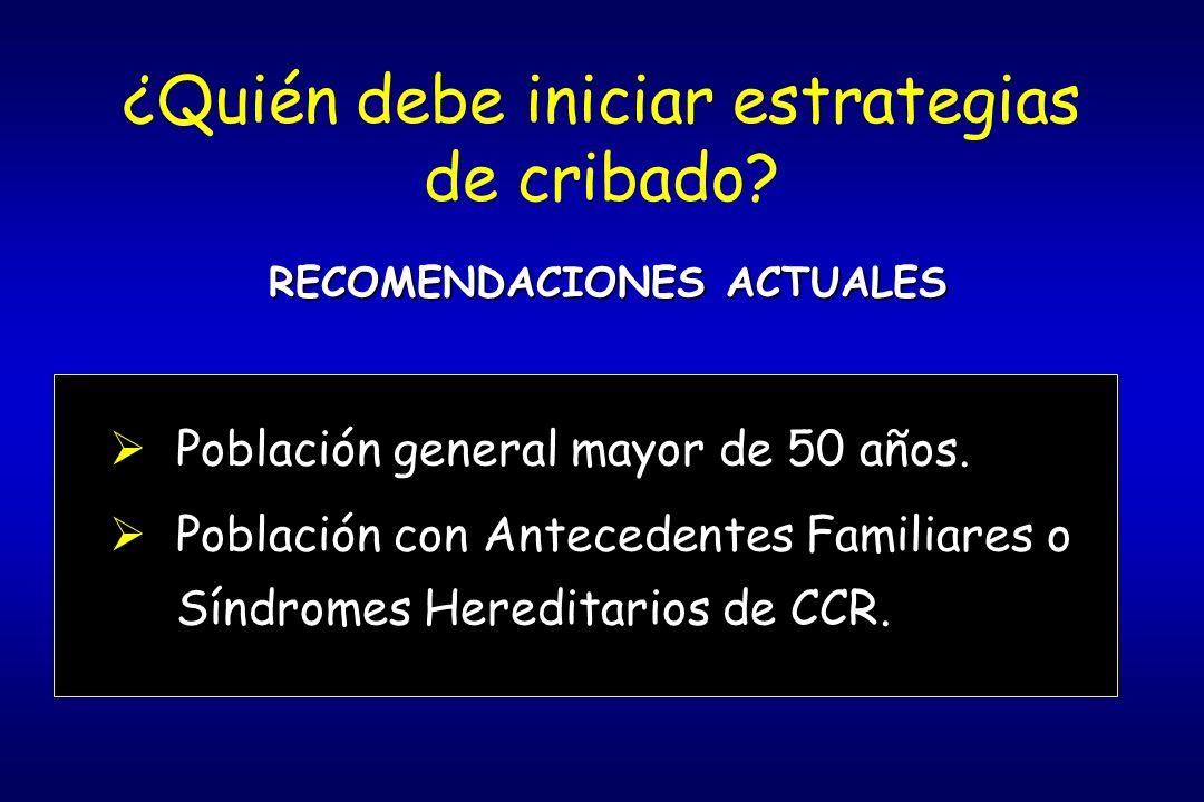 Estrategias para la Detección Precoz del CCR en Población de Riesgo Intermedio 1.Test sangre oculta en heces (SOH).