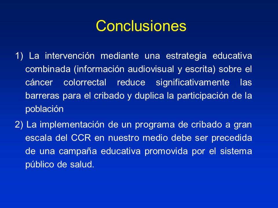 1) La intervención mediante una estrategia educativa combinada (información audiovisual y escrita) sobre el cáncer colorrectal reduce significativamen