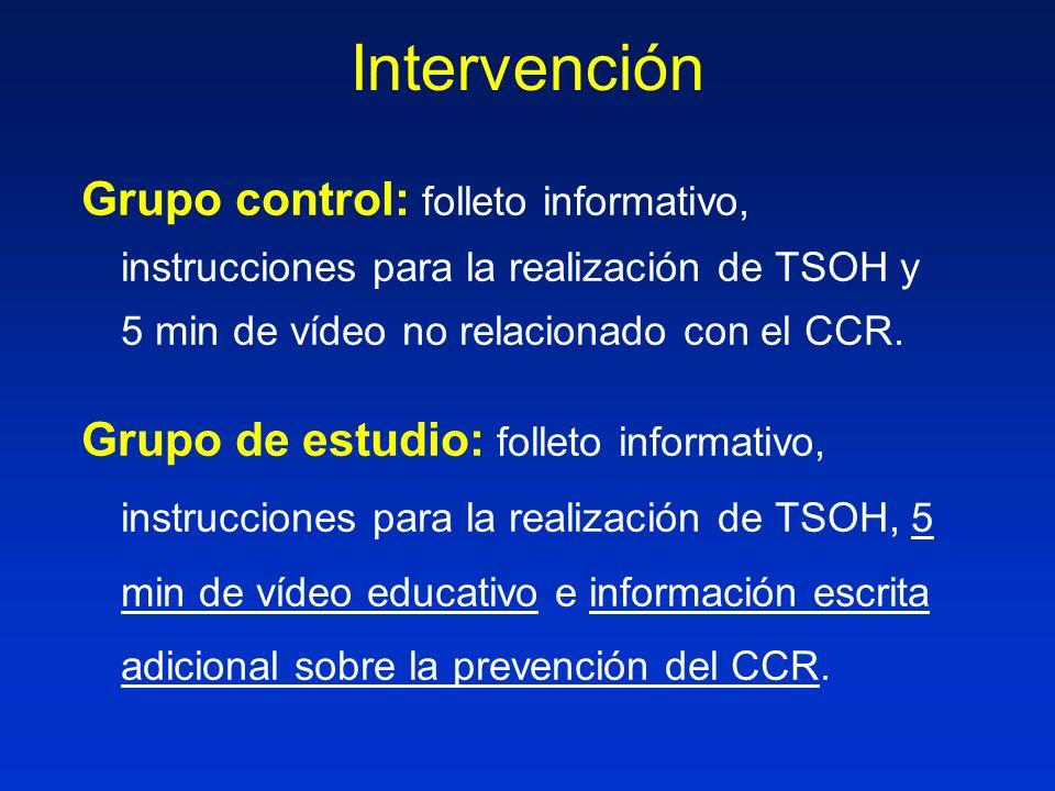 Intervención Grupo control: folleto informativo, instrucciones para la realización de TSOH y 5 min de vídeo no relacionado con el CCR. Grupo de estudi