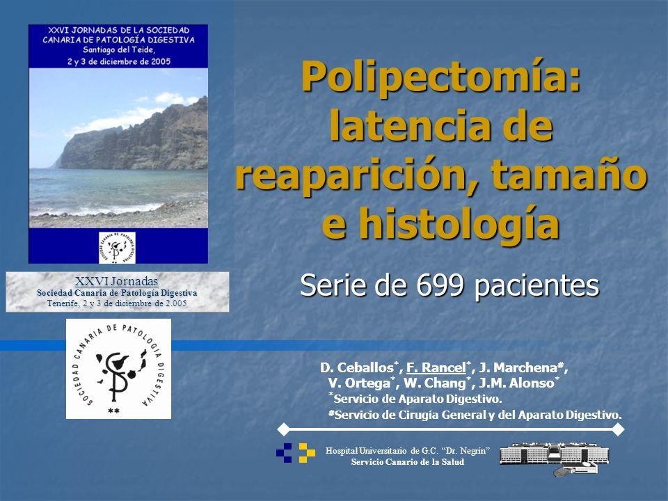 Serie de 699 pacientes Polipectomía: latencia de reaparición, tamaño e histología D. Ceballos *, F. Rancel *, J. Marchena #, V. Ortega *, W. Chang *,
