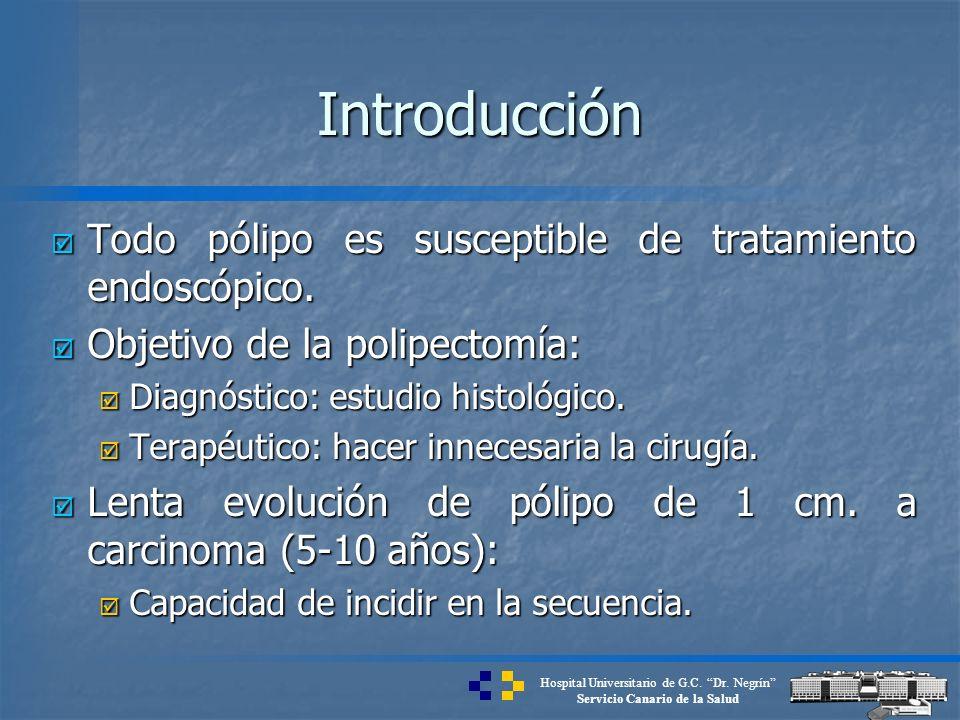 Hospital Universitario de G.C. Dr. Negrín Servicio Canario de la Salud Introducción Todo pólipo es susceptible de tratamiento endoscópico. Todo pólipo