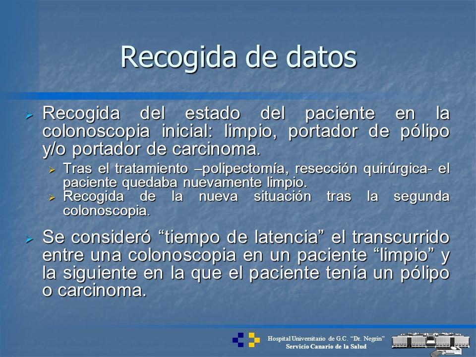 Hospital Universitario de G.C. Dr. Negrín Servicio Canario de la Salud Recogida de datos Recogida del estado del paciente en la colonoscopia inicial: