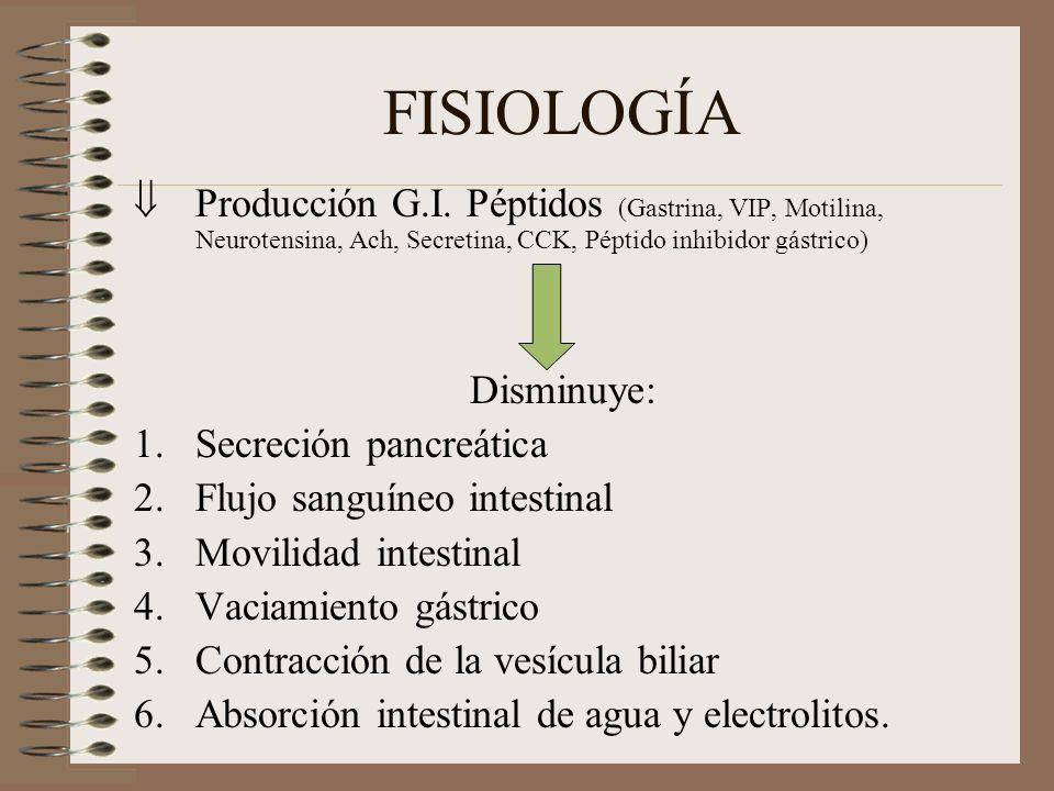 FISIOLOGÍA Producción G.I. Péptidos (Gastrina, VIP, Motilina, Neurotensina, Ach, Secretina, CCK, Péptido inhibidor gástrico) Disminuye: 1.Secreción pa