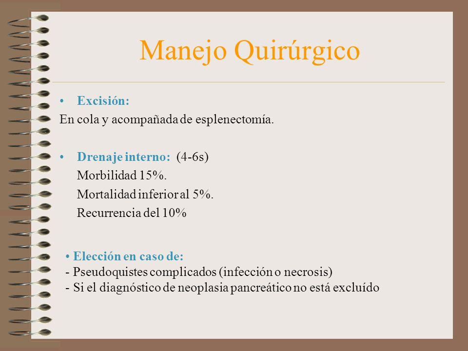 Manejo Quirúrgico Excisión: En cola y acompañada de esplenectomía. Drenaje interno: (4-6s) Morbilidad 15%. Mortalidad inferior al 5%. Recurrencia del
