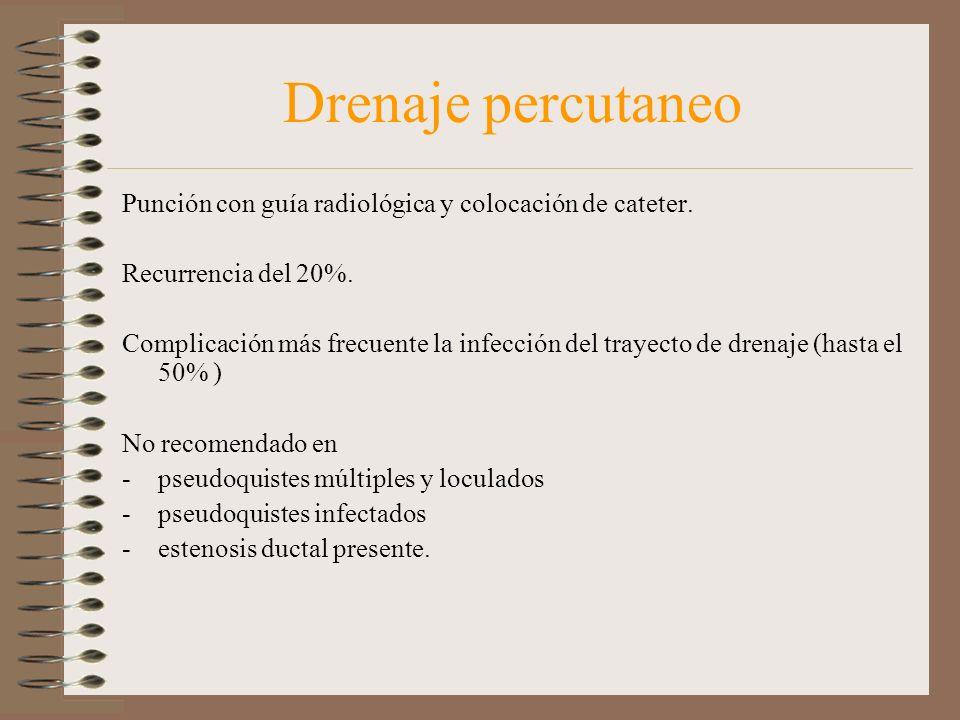 Drenaje percutaneo Punción con guía radiológica y colocación de cateter. Recurrencia del 20%. Complicación más frecuente la infección del trayecto de