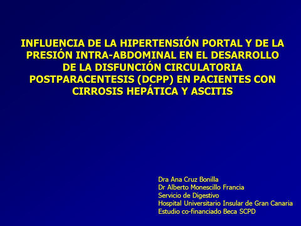 INFLUENCIA DE LA HIPERTENSIÓN PORTAL Y DE LA PRESIÓN INTRA-ABDOMINAL EN EL DESARROLLO DE LA DISFUNCIÓN CIRCULATORIA POSTPARACENTESIS (DCPP) EN PACIENTES CON CIRROSIS HEPÁTICA Y ASCITIS Dra Ana Cruz Bonilla Dr Alberto Monescillo Francia Servicio de Digestivo Hospital Universitario Insular de Gran Canaria Estudio co-financiado Beca SCPD