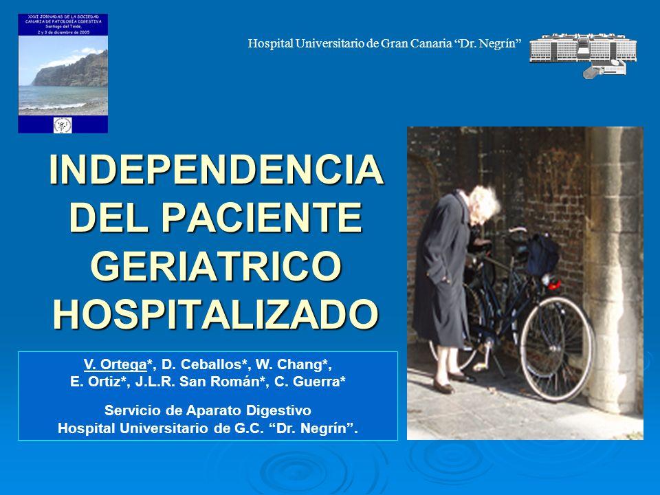 INDEPENDENCIA DEL PACIENTE GERIATRICO HOSPITALIZADO V. Ortega*, D. Ceballos*, W. Chang*, E. Ortiz*, J.L.R. San Román*, C. Guerra* Servicio de Aparato
